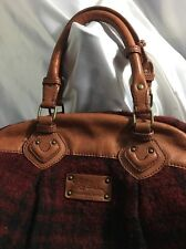 LL Bean Buffalo Plaid Red & Leather Bag Purse Satchel Vintage Rare!!