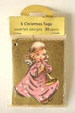 Vintage German Assorted Mini Christmas Card Tags Angel Horn Glitter Unopened