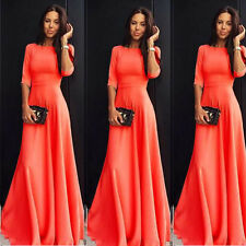 Damen Sommer Bodenlang Lang Kleider Cocktail Abendkleid Ball Party Orange S