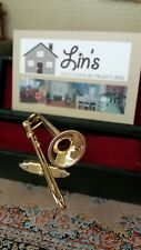 Dolls House Miniatures Instrument 1:12th Scale Trombone in Black Case 9/157 New