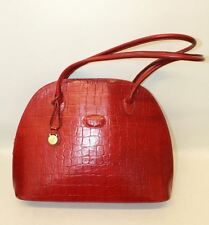MULBERRY Ladies Red Leather Croc Effect Embossed Zip Close Large Shoulder Bag
