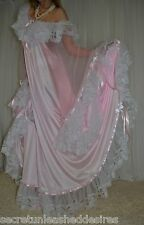 Vtg nylon lace satin lingerie nightgown long full sweep negligee 2X-4X
