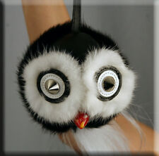 New Black Owl Fur Key Chain- Mitchies Monsters - Extra Large Size - Efurs4less