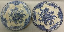 Crown Ducal Blue White Bristol 762055 England Scroll Bird Flower Dinner Plates