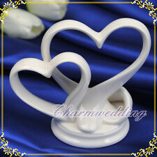 Exquisite Love Double Heart Porcelain Wedding Cake Toppers Wedding Cake Decor
