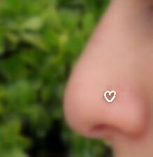 Nose Ring Piercing - Nose Ring - Nose Stud Rose Gold Filled Valentine Heart 22g