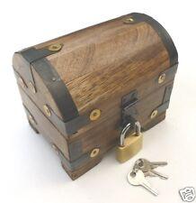 Schatzkiste Schatztruhe Truhe Holztruhe Holzbox Box mit Schloss 10x7x9 cm