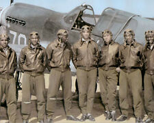 "THE TUSKEGEE AIRMEN AFRICAN AMERICAN PILOTS WWII 11x14"" HAND COLOR TINTED PHOTO"