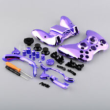 Chrome Purple Ful​l Shell Case Cover +Button Mod Parts For Xbox 360 Controller