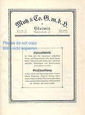 Mutz Planen und Säcke Gleiwitz XL Reklame 1925 Segel Wäsche Gliwice Werbung +