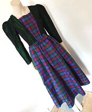 Vintage 1980s 80s Hand Made Taffeta Plaid Party Dress Size 8