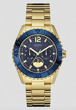 Guess Watch * U0565L4 Oversize Multifunction Blue & Gold Steel Women COD PayPal