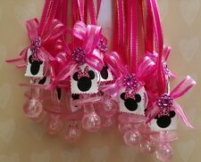 Minnie Mouse Pacifier favor. Baby shower, birthday 12pc pink keepsake