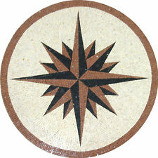 Nautical Compass Medallion Design Floor Pool Garden Home Marble Mosaic MD954
