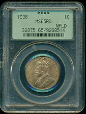 1936 Newfoundland, King George VI, Large Cent, PCGS Certified MS65 Red