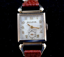 BULOVA vintage ladies watch 1940s 10K rolled GOLD brand new HIRSCH STRAP