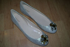 NEW WOMENS SIZE 11 NINE WEST FLATS SHOES SLIP ONS 11M JEWELS SILVER NICE!!