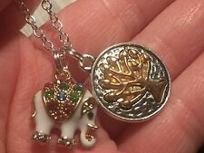 "Elephant White Jeweled & Tree Charm Tibetan Silver 18"" Necklace"