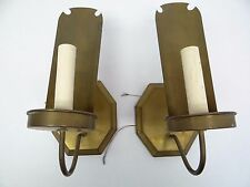 Vintage Pair Used Metal Brass Electric Candle Style Wall Sconces Lights Parts