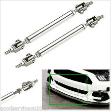 2 X Silver Stainless Steel Adjustable Car Front Bumper Lip Splitter Rod Tie Bars