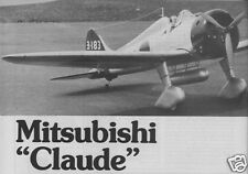 "Model Airplane Plans (RC): MitsubishI A5M4 Claude S/O Scale 58"" for .35-.46"