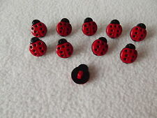 10 x RED & BLACK LADYBIRD BUTTONS ~ 24L (Approx 15mm x 13mm) CRAFT/ FASHION