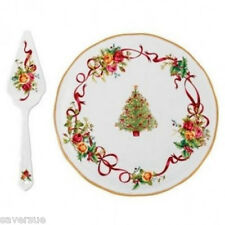 Royal Albert Old Country Roses Christmas Tree Low Cake Plate & Server New Tag