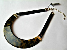 PTS Chico's Sierra Bib Necklace Faux Tortoise Shell Leather-like Bands NWT FrSh