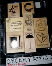 STAMPIN UP EIGHT GREAT GREETINGS 8 RUBBER STAMPS BUNNY BIRTHDAY THANKS