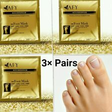 3Pairs Gold Foot Peeling Mask Cuticle Callus Dead Skin Hard Dry Skin Exfoliating