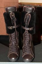 Louis Vuitton Leather Brown Boots W/Fur Size 38.5
