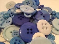 50g ASSORTED CHINA BLUE BULK BUTTON MIX FOR CRAFTS, SCRAPBOOKS, SEWING AND CARDS