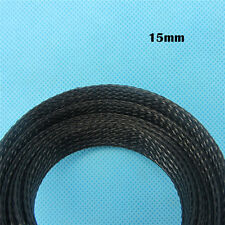 5meters Braided Sleeving Cables Sleeve Nylon Cables 15mm  Balck Expandable