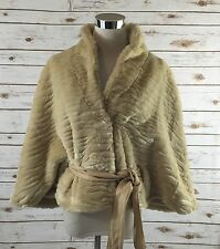 TERRY LEWIS Faux Fur and Leather Cape BLONDE BRINDLE Shrug Cloak Jacket SMALL