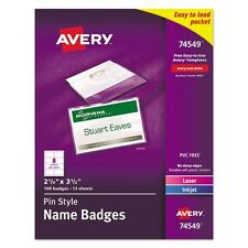 Avery Pin Style Top Loading Name Badges Kit - 74549