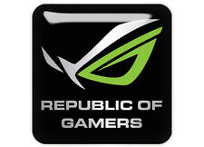 "Asus Republic of Gamers ROG Green 1""x1"" Chrome Domed Case Badge / Sticker Logo"