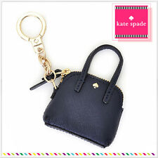 NWT Kate Spade Maise Coin Pouch Charm Key Fob Black Gold Trim in Pouch FREE SHIP