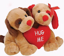 VALENTINE Twice as Sweet Puppy Pair Dog HUG ME Heart Stuffed Plush NEW