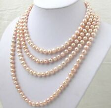 AAA 7-8MM pink Akoya pearl long necklace 100 inch