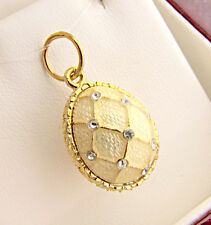 UNIQUE HANDMADE OF SOLID STERLING SILVER 925 & 24K GOLD ENAMEL EGG PENDANT