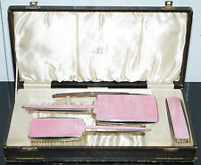 STERLING SILVER WITH STUNNING ART DECO PINK ENAMEL VANITY BRUSH SET CASED