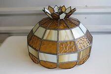 Vintage Amber Glass Swag Hanging Lamp Light Stained Glass Leviton
