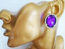 Beautiful Diamante Stud CLIP ON Earrings Silver Tone Oval Purple Crystals