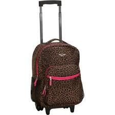 """Girls Kids Teens Travel School Pink Leopard 17"""" Rolling Medium Backpack Luggage"""