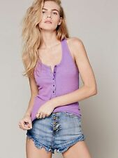 NWOT Free People Isabelle Ribbed Henley Tank Top Purple M Rare ASO Walking Dead