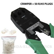 Crimp Crimper  With 50 RJ45 CAT5 CAT5e UTP Connector Plug Network Tool Kit