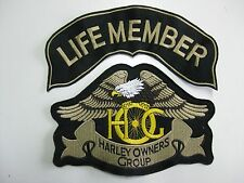 HARLEY DAVIDSON SET 2 PEZZI OWNERS GROUP aquila HOG patch LIFE MEMBER termoad