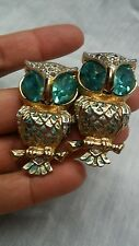 Beautiful vintage Coro duette owls blue clear rhinestone fur clip pin brooch