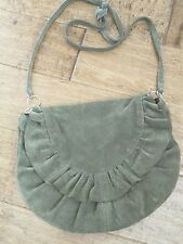 Vintage Made in Italy Olive Green Suede Small Crossbody/Shoulder Bag
