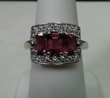 14k White Gold Ring with Pink Tourmaline Center Stones and Diamonds Size 7.5